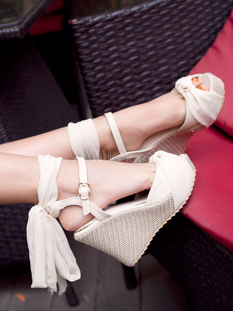 542908520c11 Women Wedge Sandals Peep Toe Platform Knotted Lace Up Sandal Shoes-No.1 ...