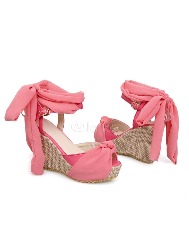 23b6ef63df25 ... Women Wedge Sandals Peep Toe Platform Knotted Lace Up Sandal Shoes-No.2  ...