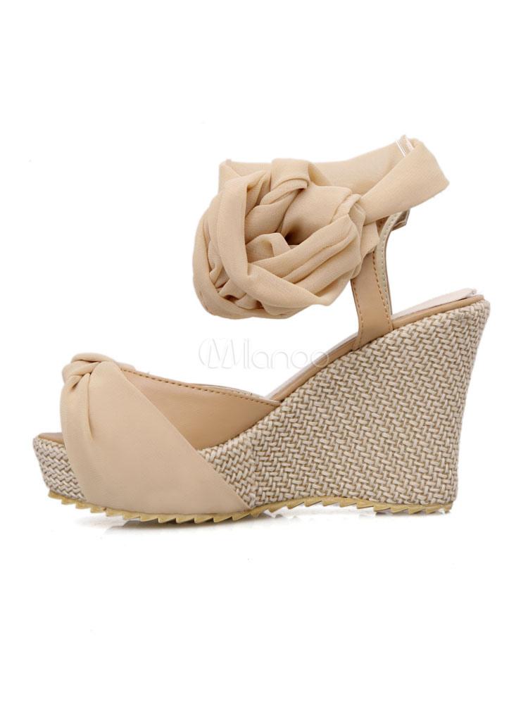 56fcdc097857 ... Women Wedge Sandals Peep Toe Platform Knotted Lace Up Sandal Shoes-No.4  ...