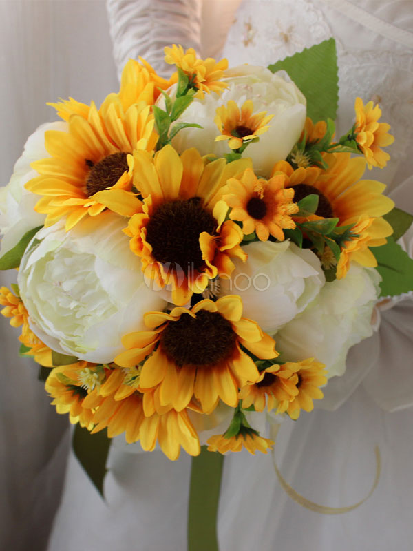 Sonnenblume Hochzeitsstrauss Gelbe Bander Braut Handstrausse Milanoo Com