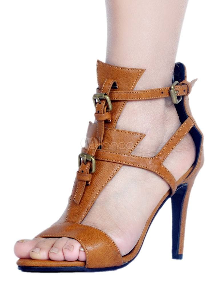 Buy High Heel Sandals Brown Open Toe T Type Metal Detail Ankle Strap Sandal Shoes For Women for $62.99 in Milanoo store