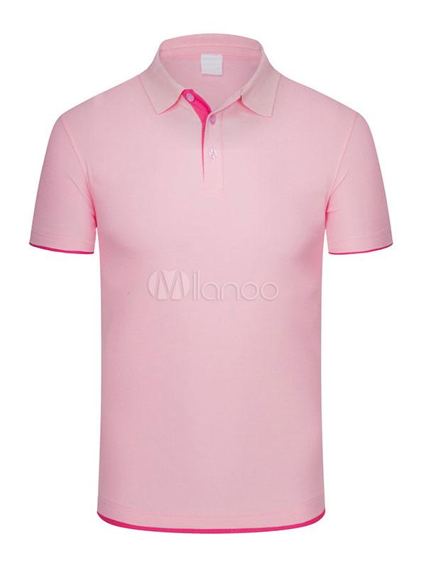 2336b979f0743 Algodão Pólo Camisa Tubulação Homens Verão Top Cor Sólida Manga Curta Camiseta  Casual-No.