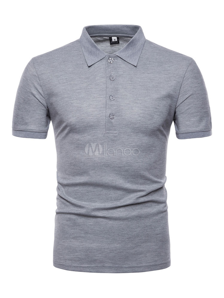 Men Polo Shirt Slim Fit Solid Color Cotton Tee Short Sleeve Casual T Shirt-No  ... c6169b602e437