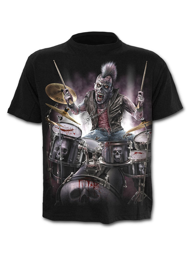 Buy Men Punk T Shirt 3D Print Graphic Tee Top Short Sleeve T Shirt Black for $17.99 in Milanoo store