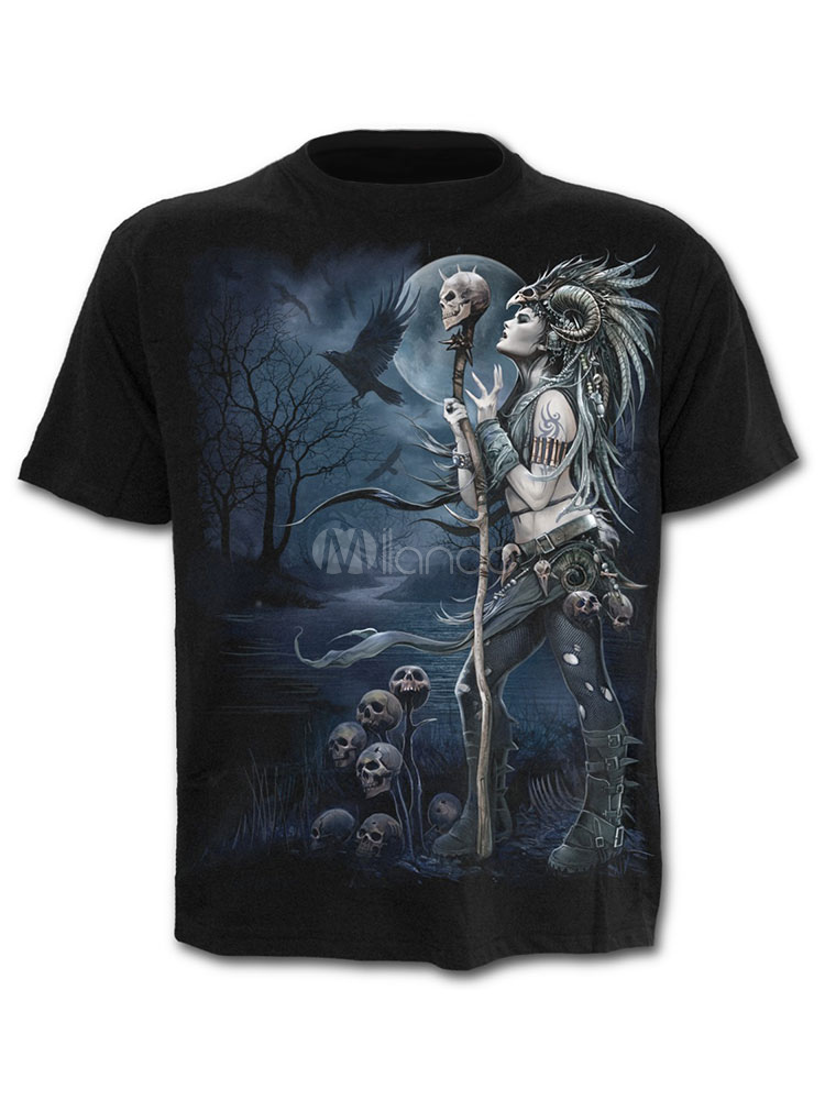 Buy Black Men T Shirt 3D Print Print Graphic Tee Short Sleeve Casual T Shirt for $17.99 in Milanoo store