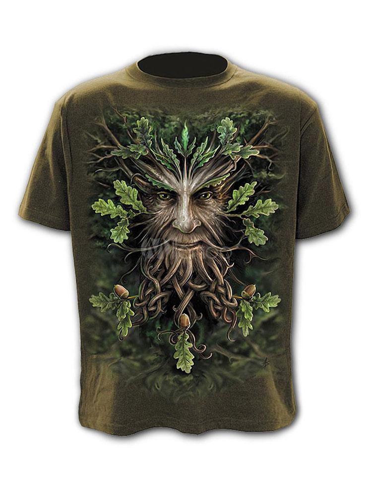 Buy Short Sleeve T Shirt 3D Print Graphic Tee Top Green Men T Shirt for $17.99 in Milanoo store