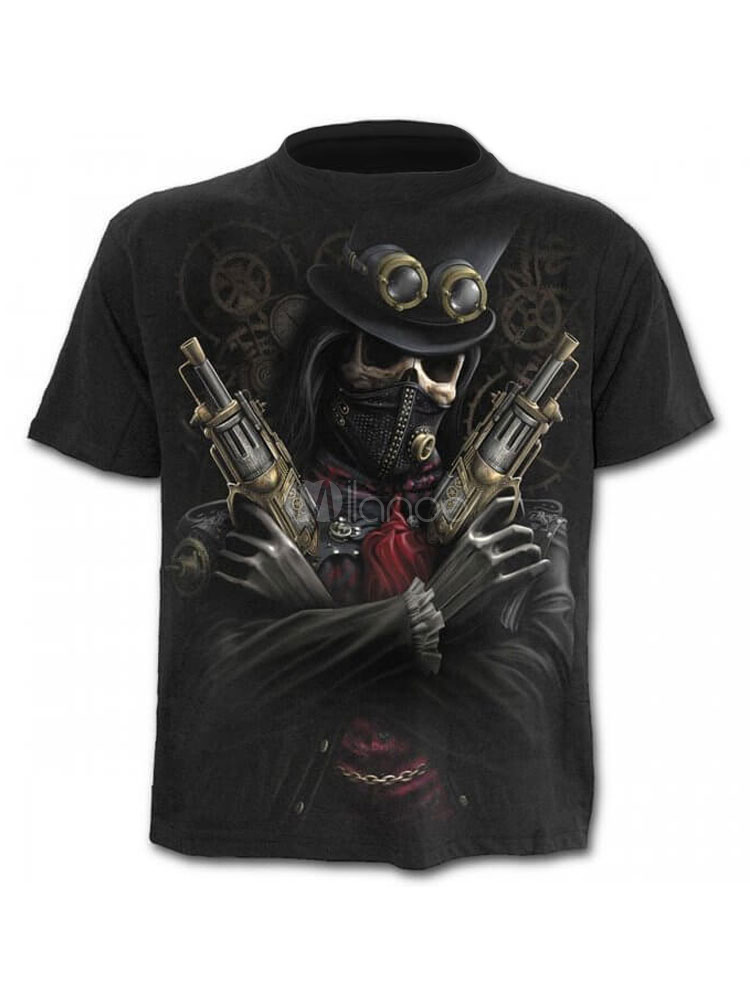 Buy Casual Men T Shirt Skeleton Rider 3D Print Graphic Tee Top Short Sleeve T Shirt Black for $17.99 in Milanoo store