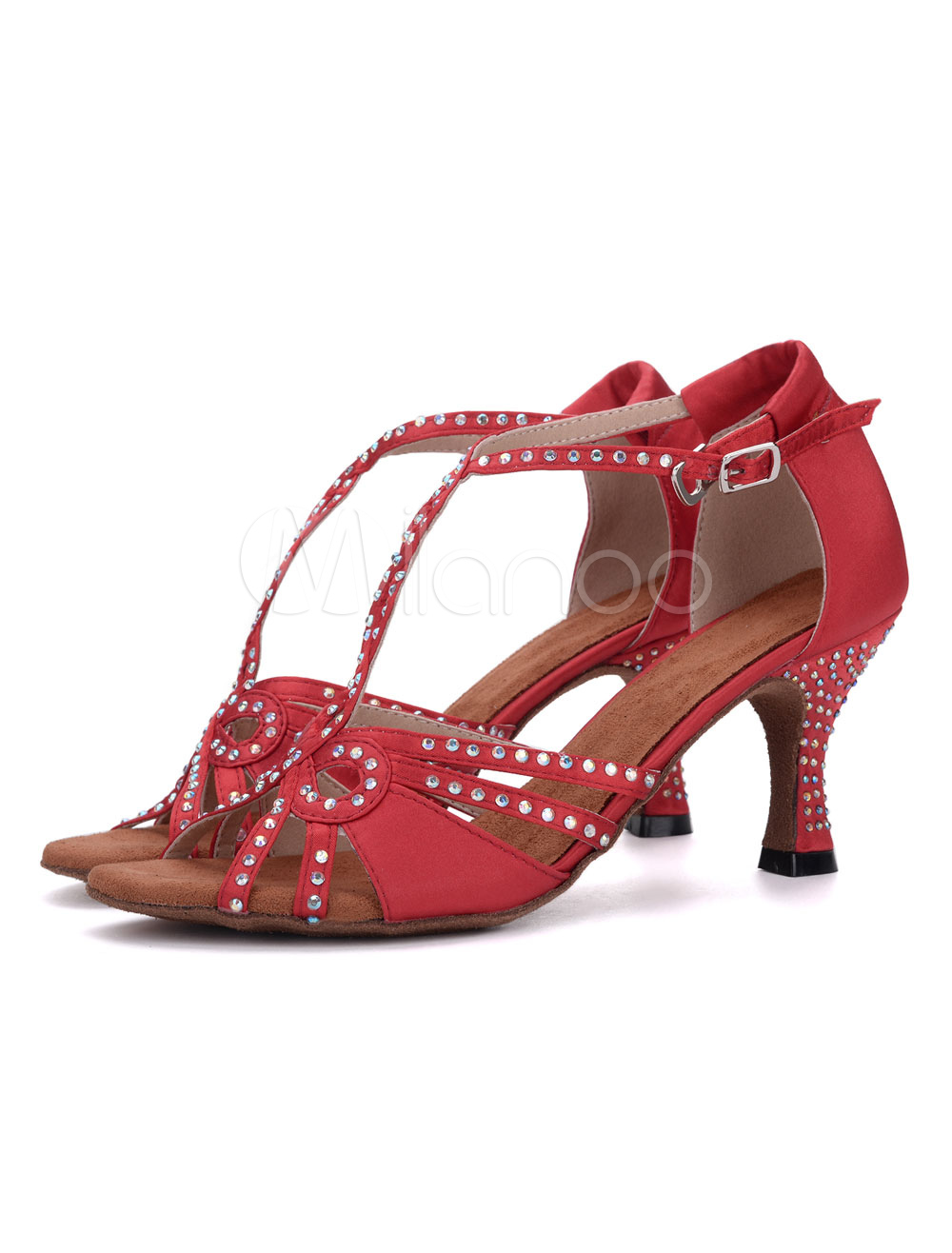 Buy Satin Dance Shoes Women Ballroom Shoes Peep Toe T Type Rhinestones Ankle Strap Dancing Shoes for $29.69 in Milanoo store