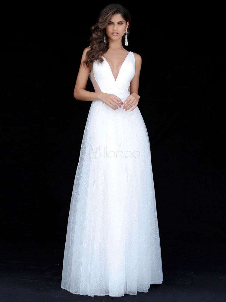 White Maxi Dress Plunging Neck Chiffon Backless Party Dress