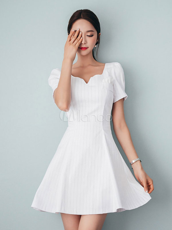 Buy White Skater Dress Striped Vintage Dress Short Sleeve Notched Neck Mini Dress for $29.24 in Milanoo store
