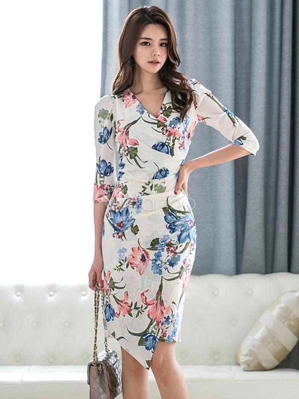 9384231a54 Floral Bodycon Dress White V Neck Ruched Wrap Midi Dress - Milanoo.com
