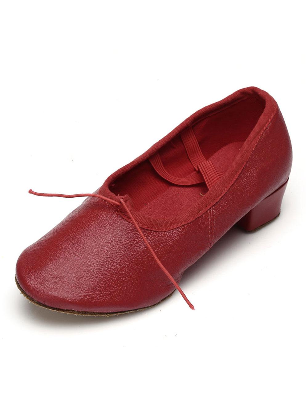 Ballet Dance Shoes Round Toe Criss Cross Dancing Shoes For Women