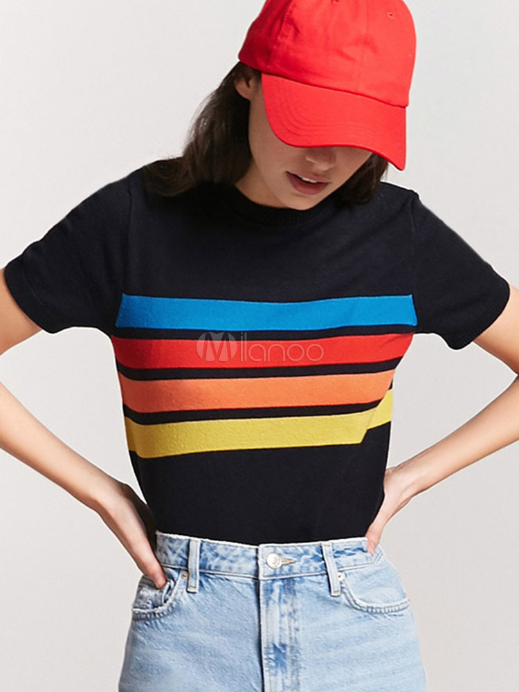 13af4aff05 Women Black T Shirt Rainbow Stripe Shirt Short Sleeve Summer Top-No.1 ...