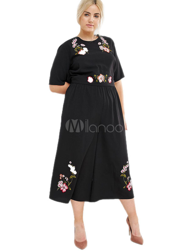 58519206114 ... Plus Size Jumpsuit Black Half Sleeve Embroidered Cut Out Wide Leg  Jumpsuit For Women-No ...