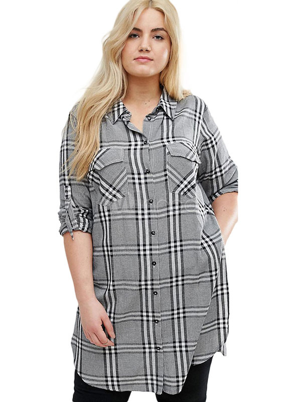 más fotos 3f458 1bf26 Camisa a cuadros de talla grande Bolsillos de manga larga Split Top casual  gris