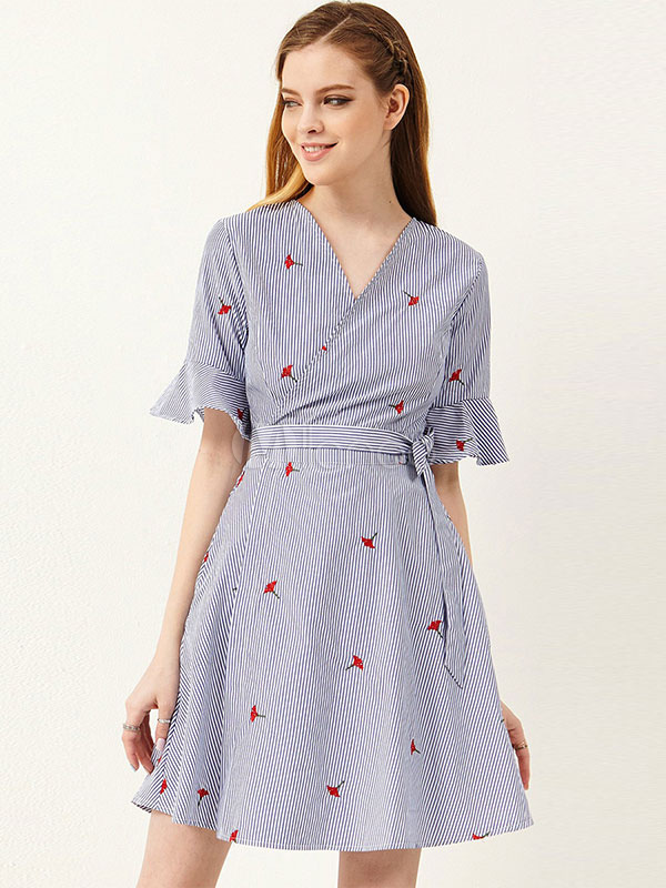 Buy Striped Skater Dress V Neck Short Sleeve Embroidered Blue Cotton Wrap Dress for $35.09 in Milanoo store