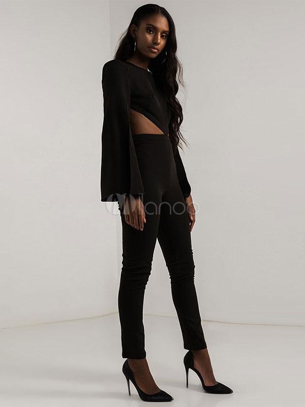 combinaison femme noire jumpsuit manches longues dos nu skinny sexy. Black Bedroom Furniture Sets. Home Design Ideas