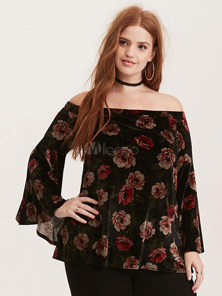 93f4900a36bd18 Plus Size Blouses Black Off The Shoulder Long Sleeve Printed Velvet Bardot  Top For Women- ...