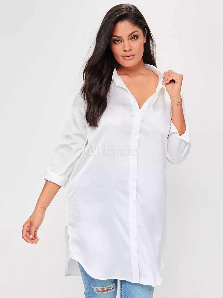 e35378d57 Plus Size Camisa Branca Manga Comprida Bordada Dividir Espalhe Pescoço  Verão Casual Top-No.