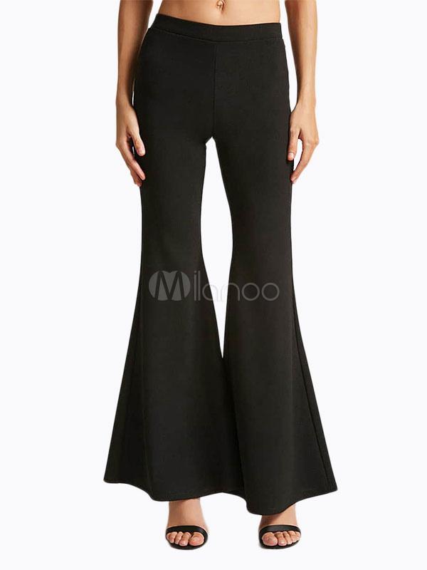 Dividida Pantalones Con Cremallera Pierna Negros De Mujer 6gy7Ybf