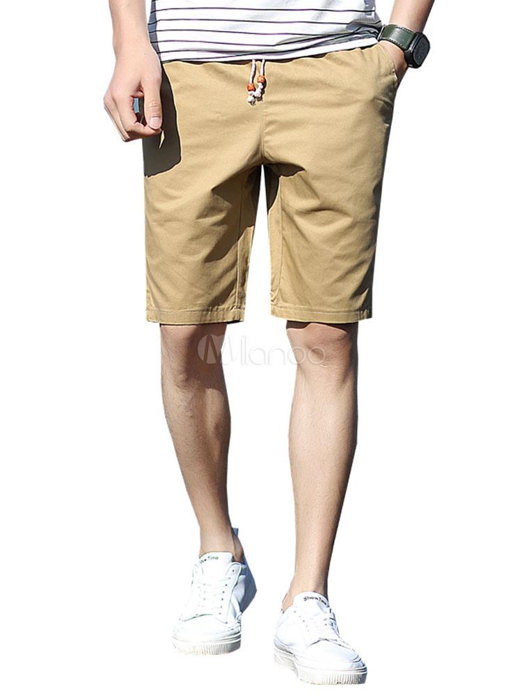 Pantalones Cortos De Verano Para Hombres Shorts Capri Con Cordon Pantalones Cortos Casuales De Color Solido Milanoo Com
