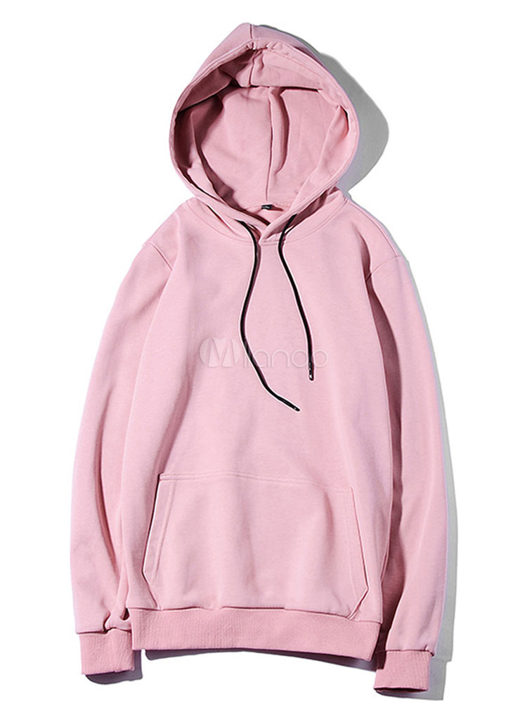 Cotton Men Sweatshirt Hooded Rib Knit Cuff Drawstring Casual Top Solid  Color Long Sleeve Pullover Hoodie ... 68a6689da