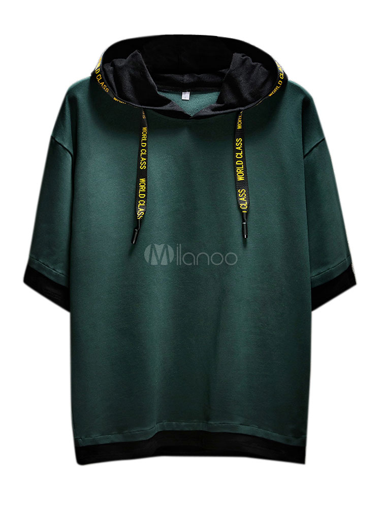 88ee3f34f59d Men Casual T Shirt Hooded Drawstring Drop Shoulder Summer Tee Top Relaxed  Fit Short Sleeve T ...
