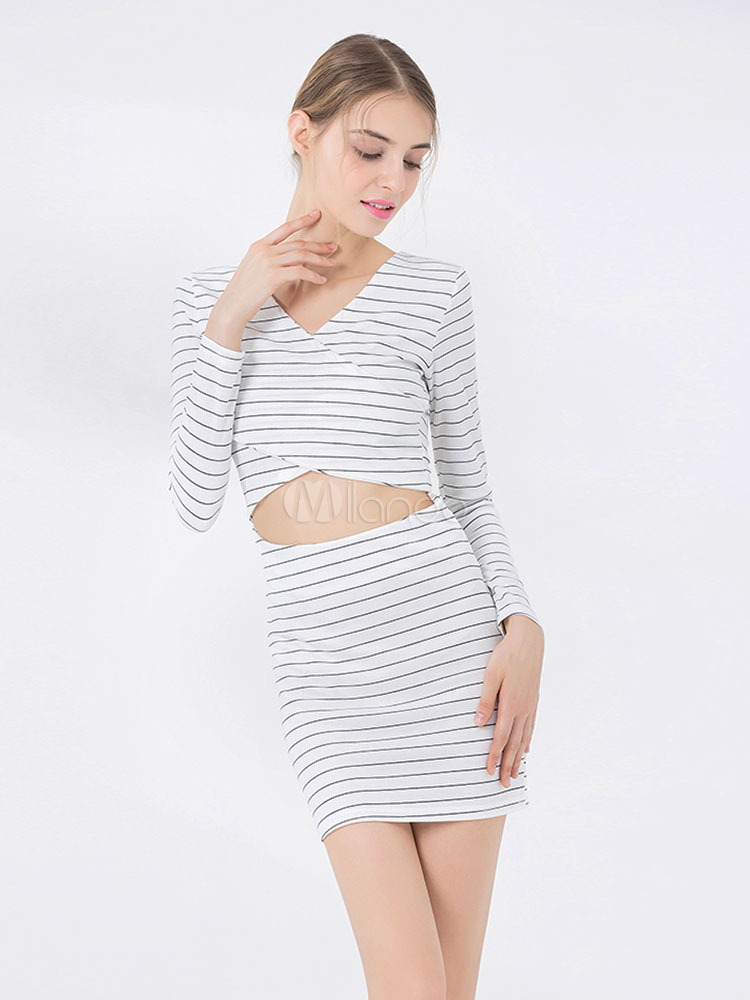 806bb6aab81 White Tight Dress Striped V Neck Long Sleeve Cut Out Bodycon Dress-No.1 ...