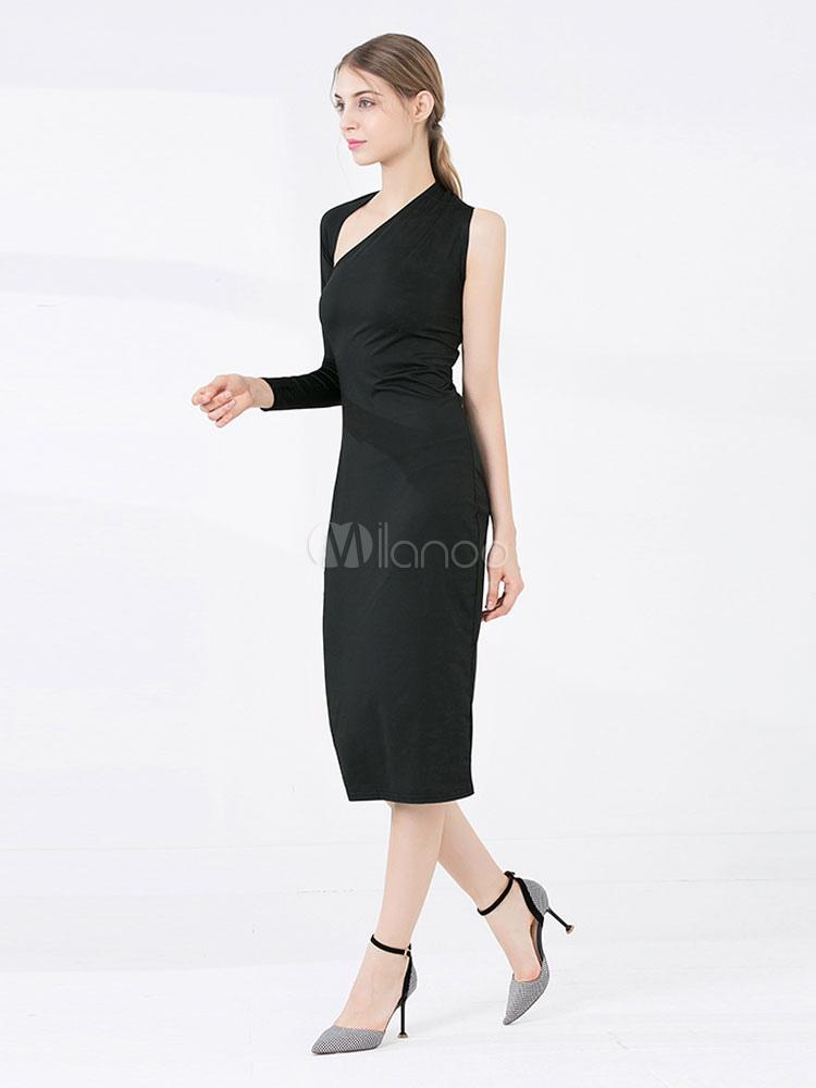 300b0b2301 ... Black Bodycon Dress One Shoulder Long Sleeve Asymmetrical Midi Dress-No.4  ...