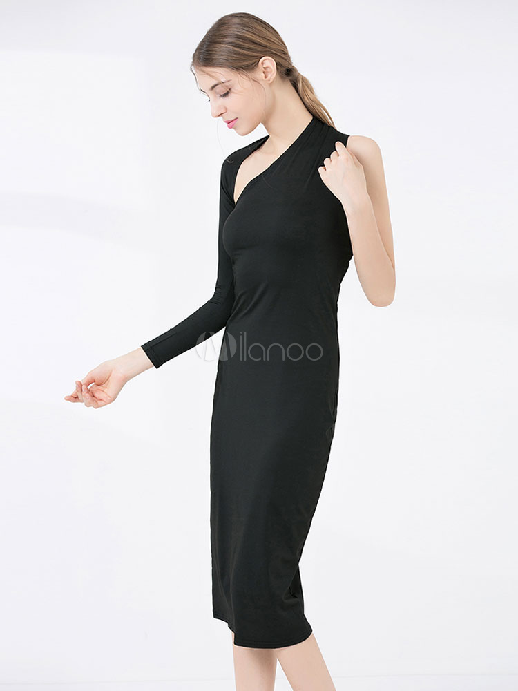 eb5990633a ... Black Bodycon Dress One Shoulder Long Sleeve Asymmetrical Midi Dress-No.3  ...