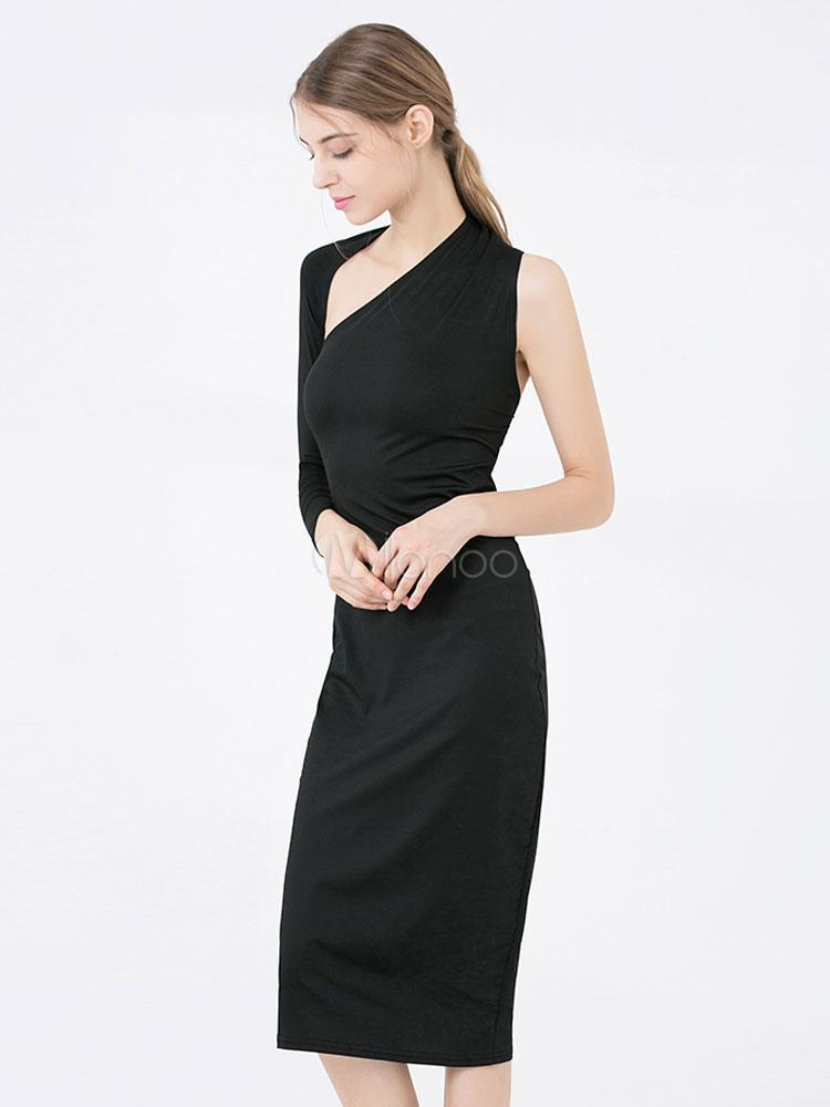 b8bf94ca4a ... Black Bodycon Dress One Shoulder Long Sleeve Asymmetrical Midi Dress-No.2  ...