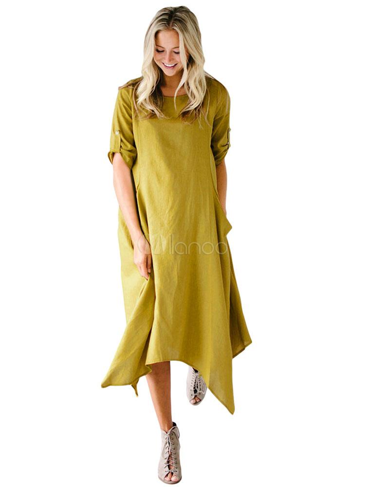 Buy Women Shift Dress Half Sleeve Round Neck Neon Green Casual Dress for $28.04 in Milanoo store