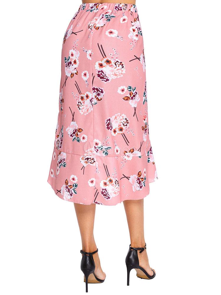 6cd90af3b7 Vestito al ginocchio 2019 da donna con gonna a ruota alta e gonna a fiori