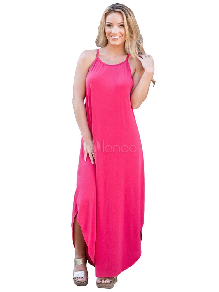 longue robe d 39 t sangles robe maxi robe coulissante de couleur unie. Black Bedroom Furniture Sets. Home Design Ideas