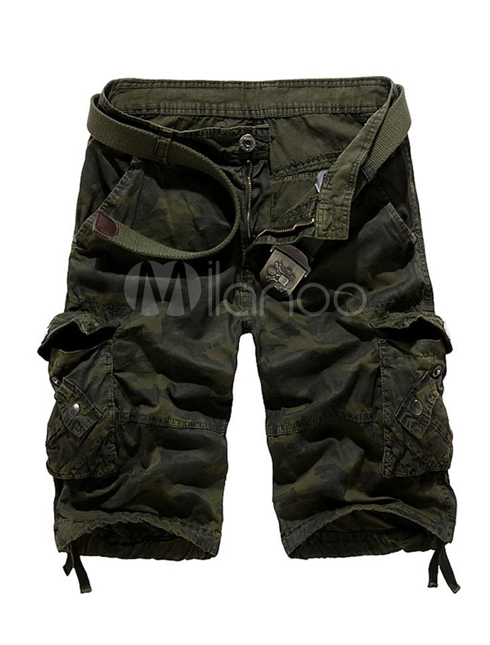 Men Cargo Shorts Pocket Cotton Shorts Zipper Fly Summer Shorts Casual
