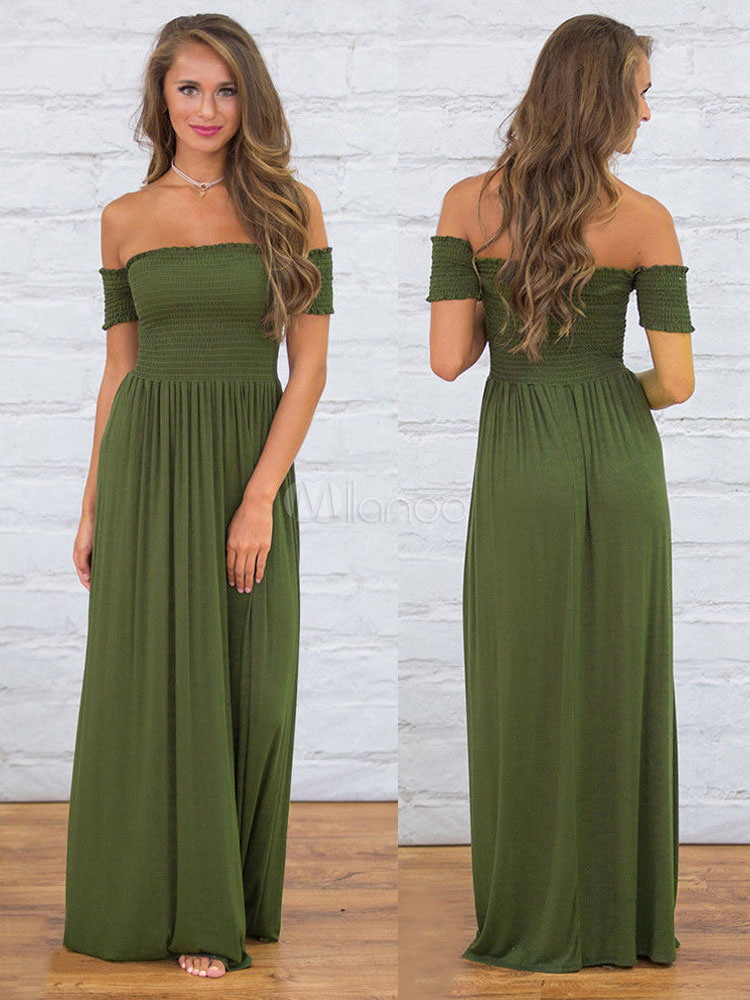 Summer Dresses 2018 Off The Shoulder Maxi Dress Bardot