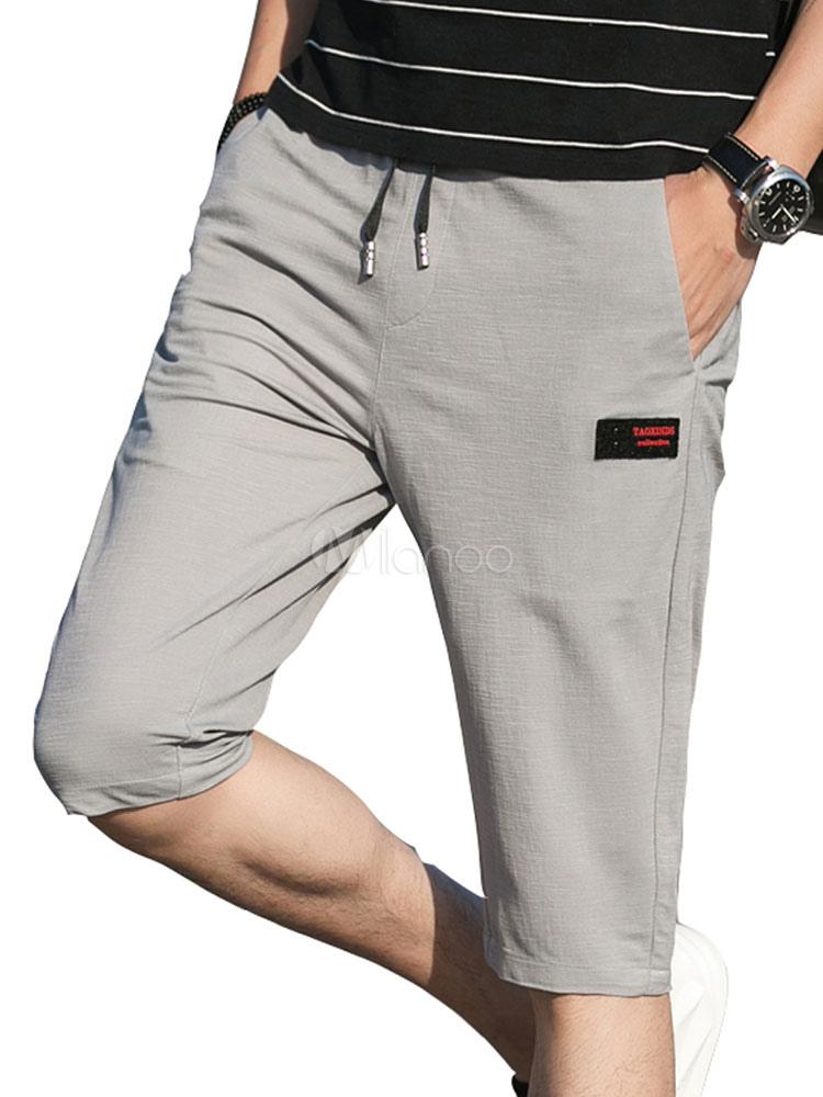 ec6db8abb5 Calções Casuais Masculinos Plus Size Calções de Verão Cor Sólida Bolso  Capri Shorts-No.