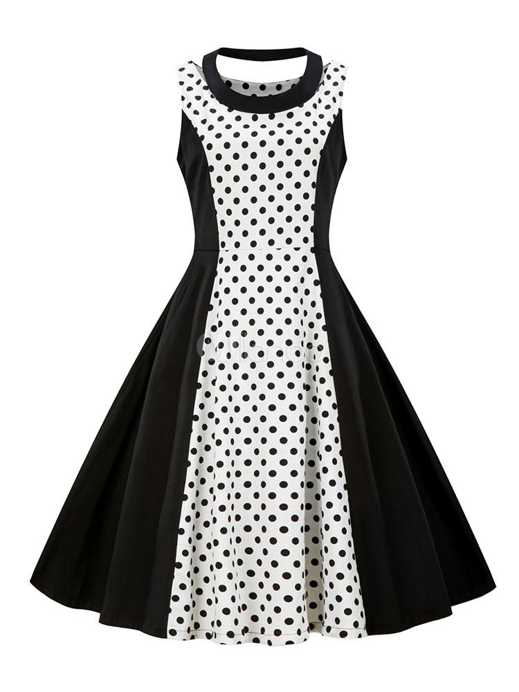 a840bf85f563 Vestido de bolinhas Vintage preto sem mangas Retro 1950s Swing Dress-No.1  ...