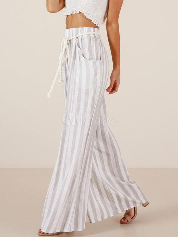 Pantalones Anchos De Cintura Alta Pantalones Anchos De Cintura Alta Blancos Para Mujer Milanoo Com
