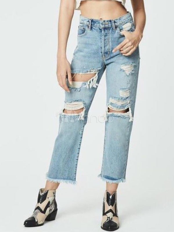 cheap for sale value for money most reliable Women Denim Jeans Cut Out Light Blue Straight Leg Ripped Jeans