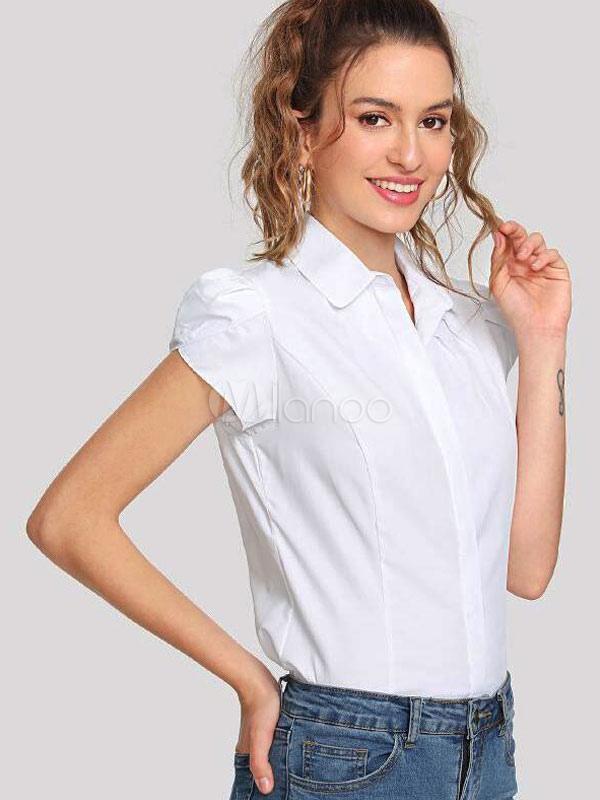 Mujer De Blanca Larga Con Para Manga Camisa Corta Botones 7q8pwaFFZ