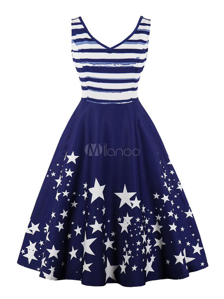 Buy Women Vintage Dress Sleeveless Striped Stars Deep Blue Summer Dress for $18.69 in Milanoo store
