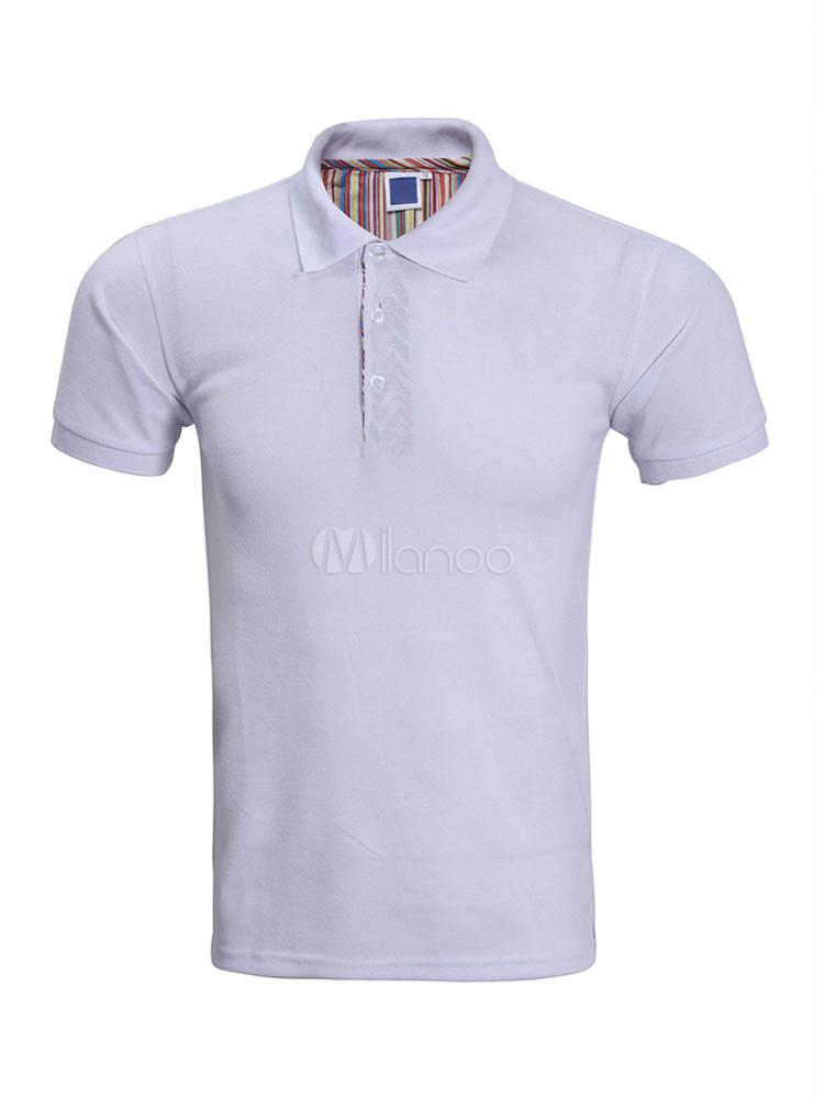 Men Polo Shirt Turndown Collar Cotton Summer Top Solid Color Short Sleeve Casual T Shirt