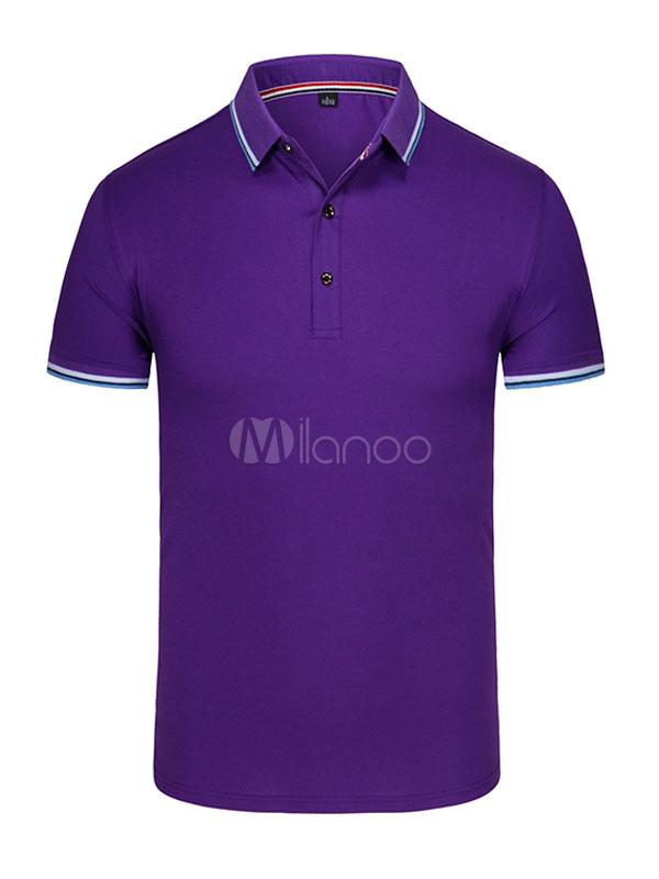 Men Polo Shirt Plus Size Stripe Cotton Top Short Sleeve Casual T Shirt