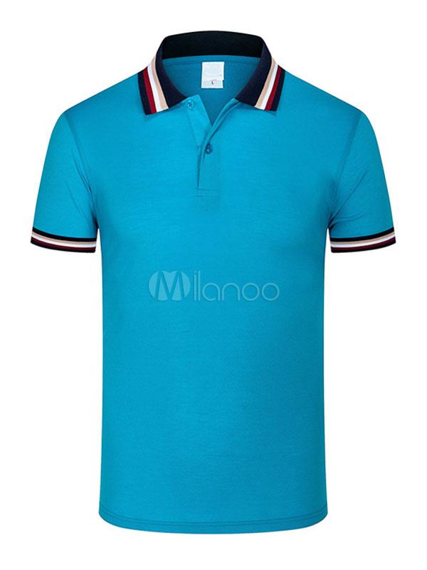 Men Polo Shirt Stripe Cotton Tee Top Short Sleeve Casual T Shirt
