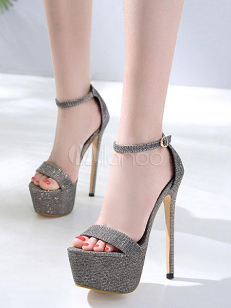 7e8adfb6759a4 scarpe sexy 2019 grigio glitter con plateau a punta aperta Tacco a spillo  sandali con Cinturino ...