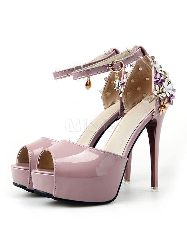 Women High Heels Platform Peep Toe Flowers Beaded Ankle Strap Pumps