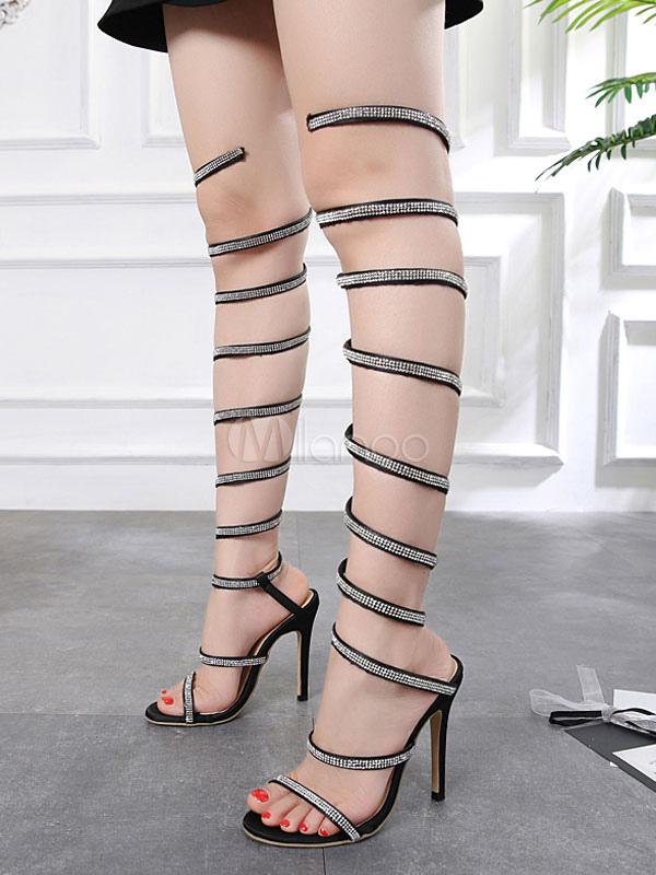 sandalias color de Gladiador Sandalias de Sandalias diamantes alto alto de mujer abierta negro de de Sandalias romanas de punta con imitación de tacón satén tacón awHqwd5U