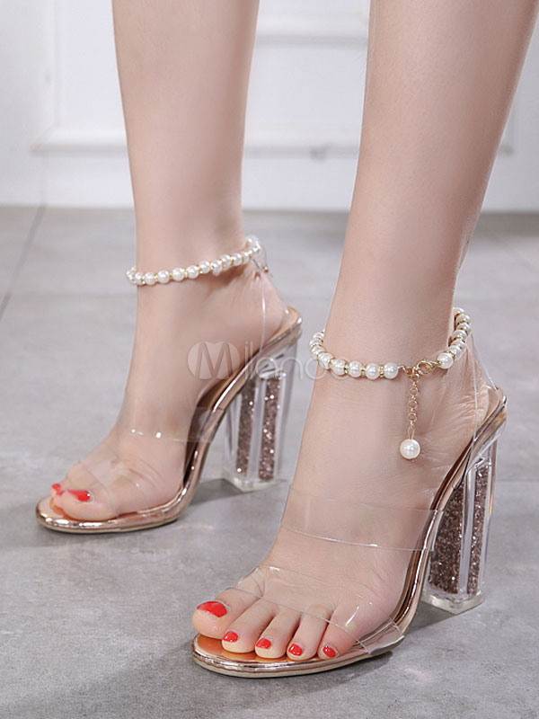 À Hauts Talons Open Sandales Claires Pearls Chaussures Femmes Jelly Toe lFTJK1c