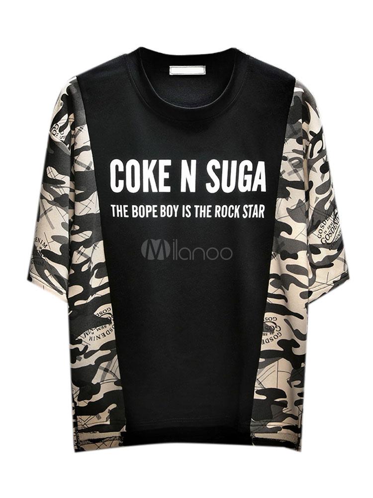 8286179a Casual Men T Shirt Camo Print Color Block Drop Shoulder Summer Top Relaxed  Fit Short Sleeve ...